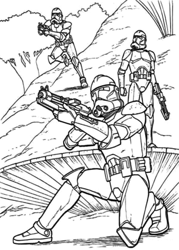 Free Coloring Pages Star Wars Clone Wars the Clone Troopers Standby In Star Wars Coloring Page