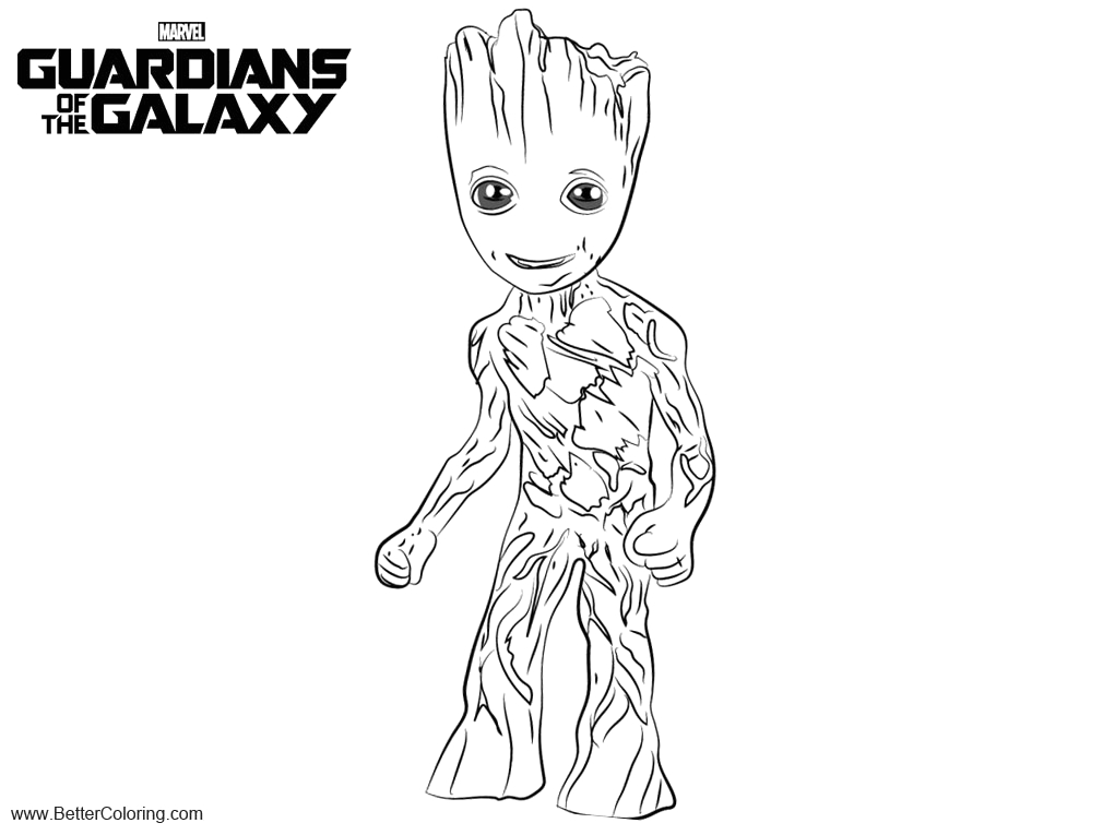 guardians of the galaxy coloring pages baby groot