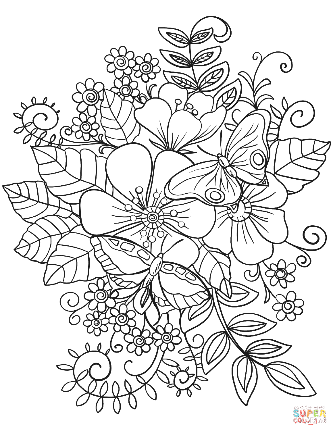 Free Printable Coloring Pages Flowers and butterflies butterflies On Flowers Coloring Page