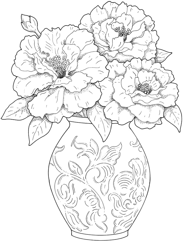 detailed flower coloring pages for adults printable 85yf1