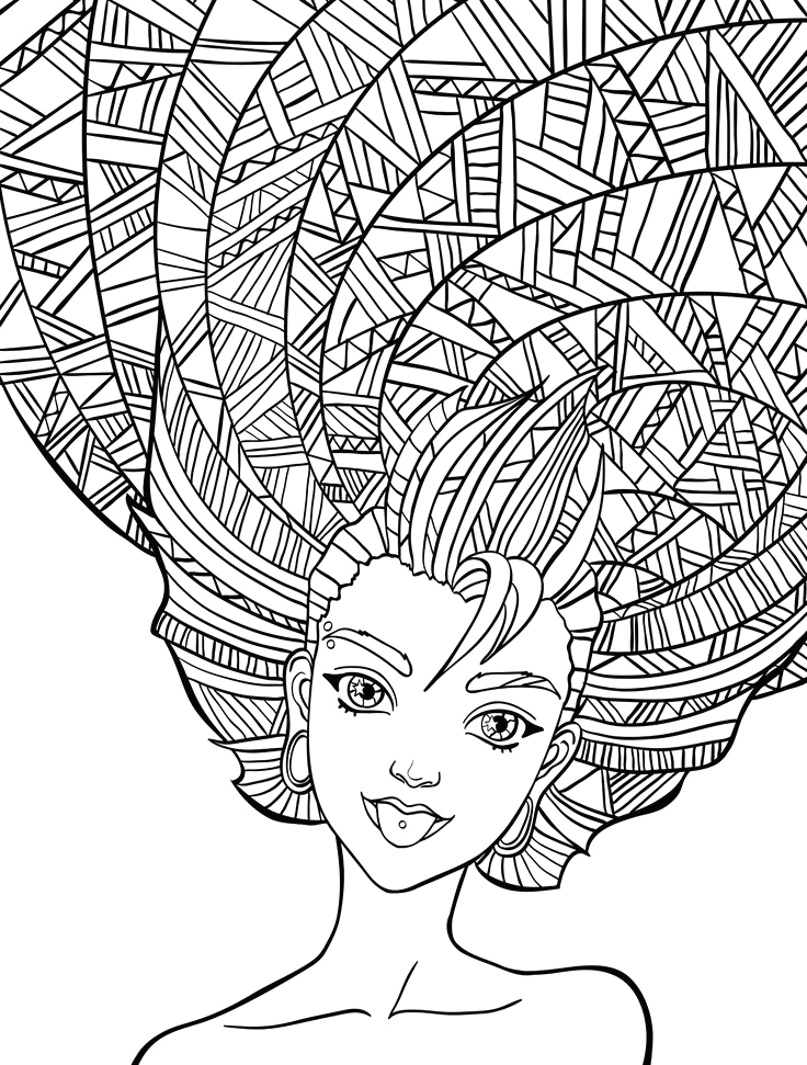 crazy hairdo coloring lesson kids coloring page