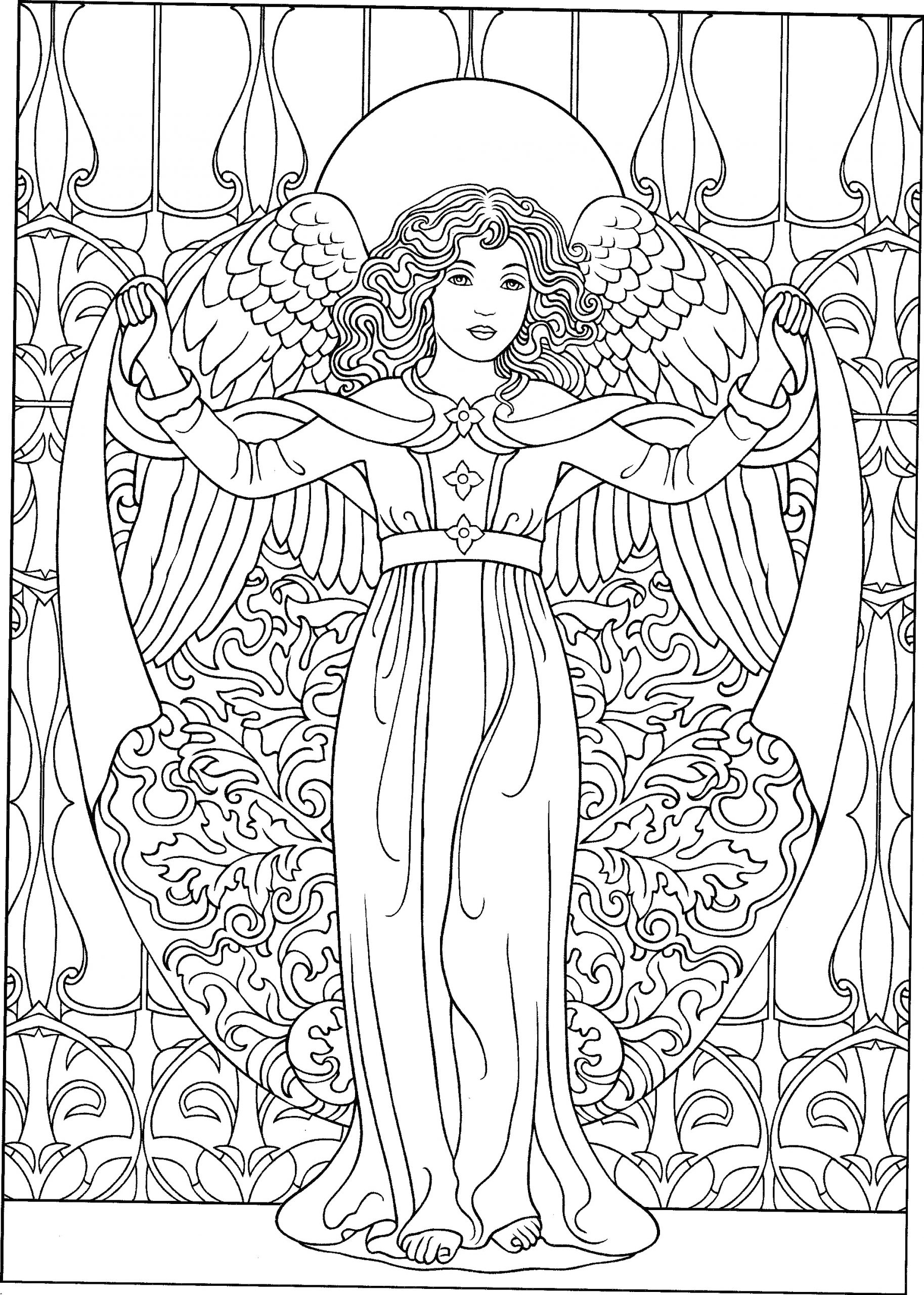 Free Printable Coloring Pages for Adults Angels Beautiful Angel Coloring Page