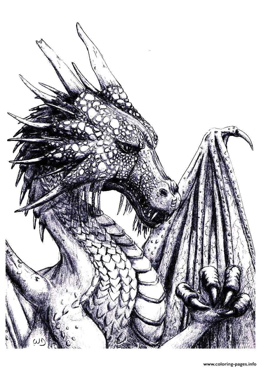 Free Printable Coloring Pages for Adults Dragons Adult Dragon Coloring Pages Printable