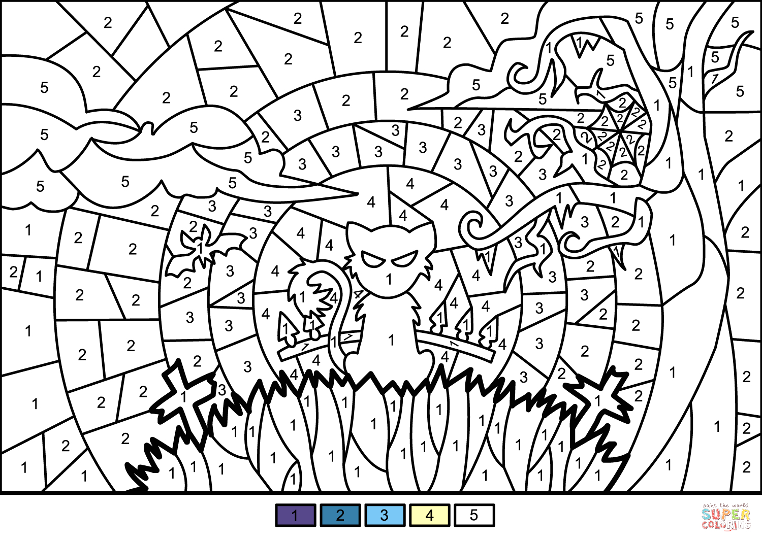 Free Printable Halloween Color by Number Pages Halloween Scene Color by Number