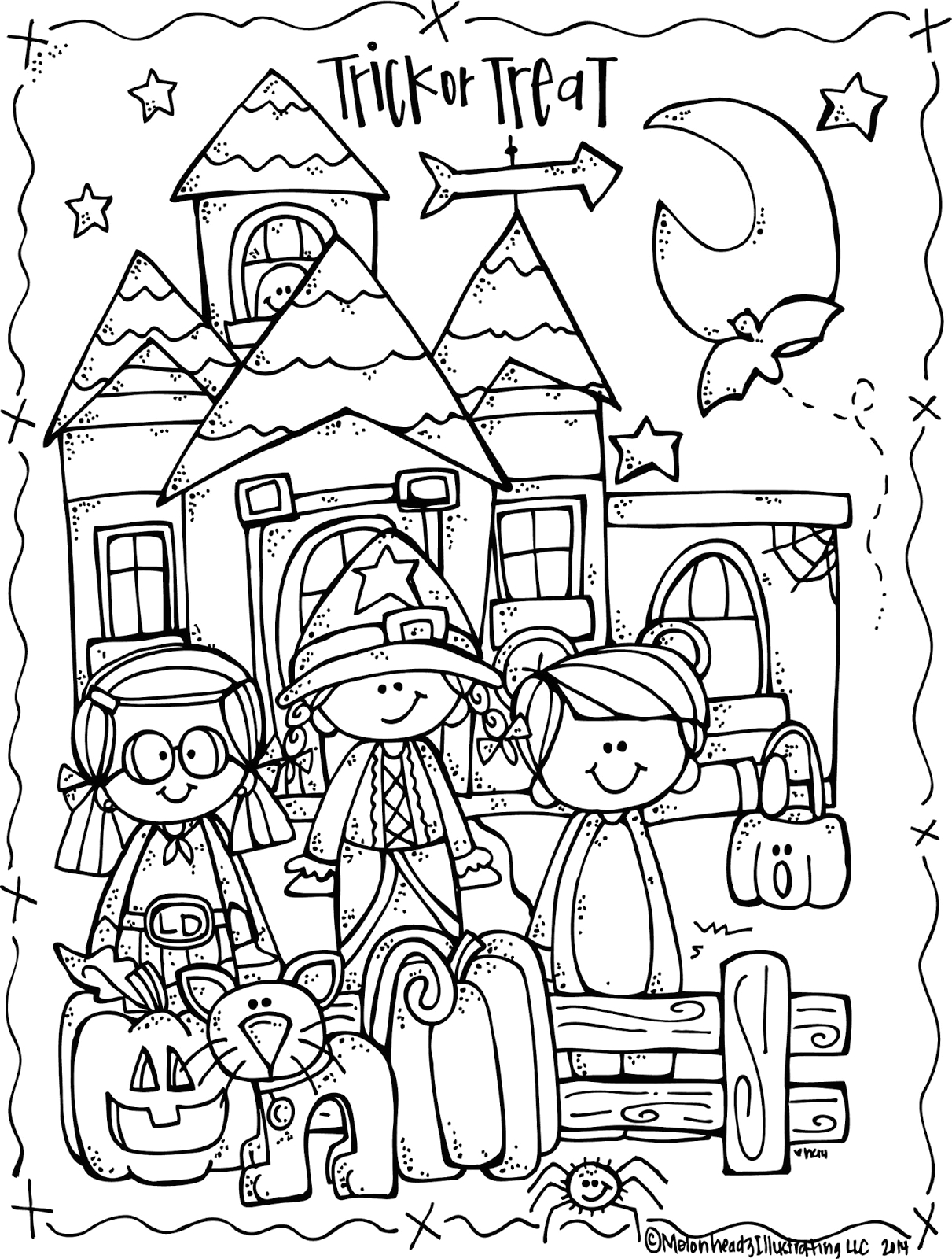 Free Printable Halloween Coloring Pages and Activities Melonheadz Lucy Doris Halloween Coloring Page Freebie