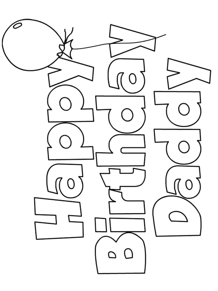 colouring pages happy birthday dad