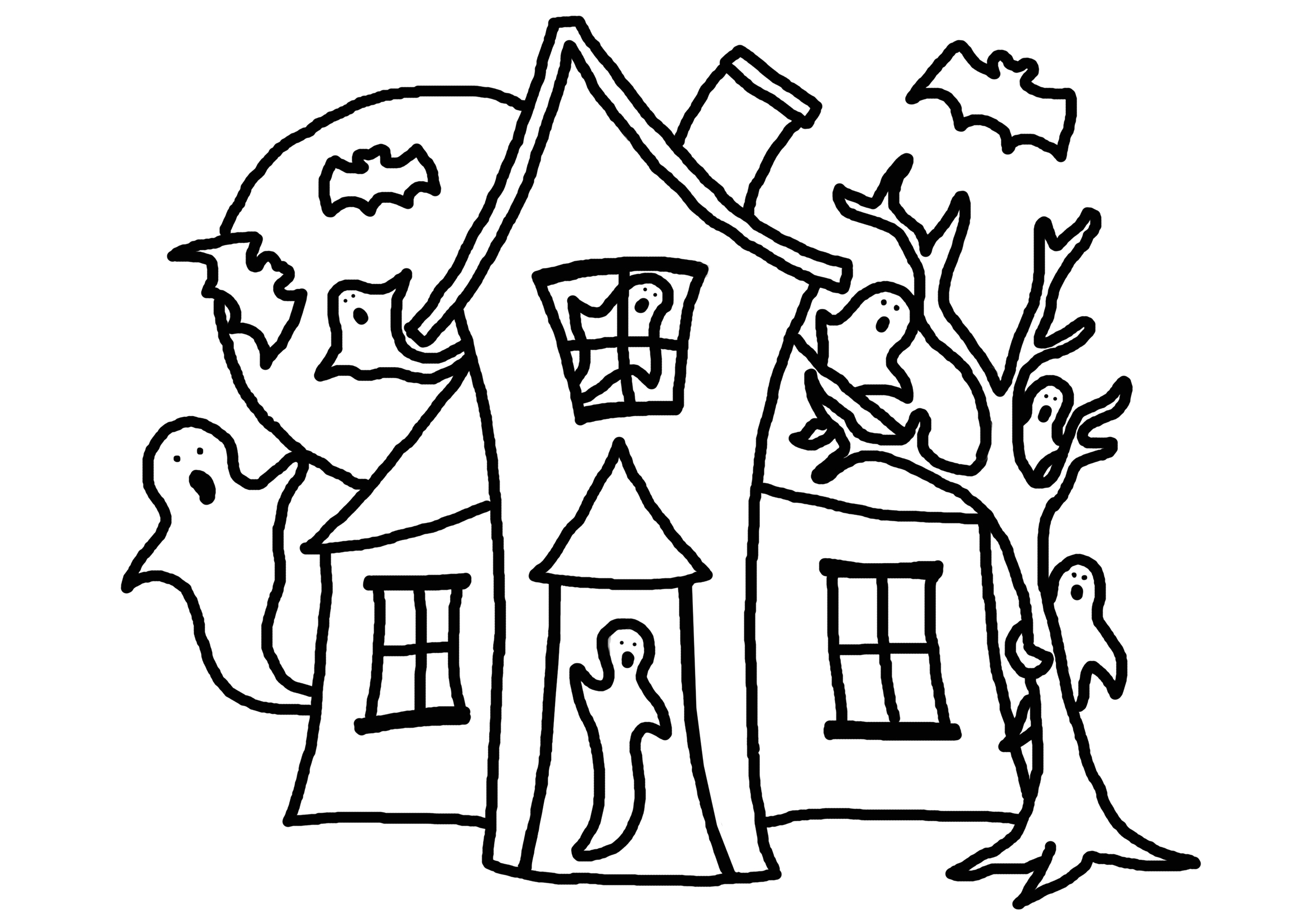 Free Printable House Coloring Pages for Kids Free Printable Haunted House Coloring Pages for Kids