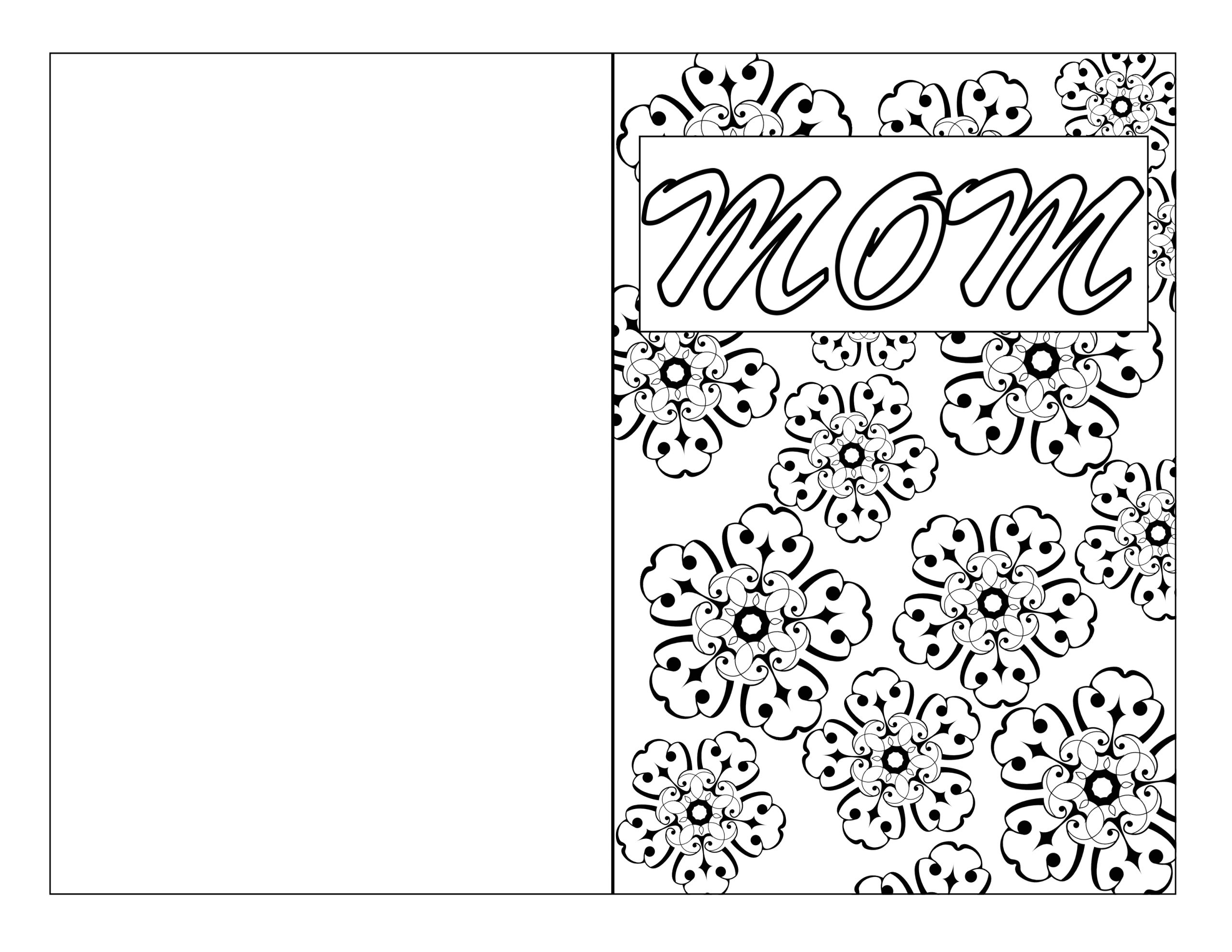 mothers day coloring page card diy