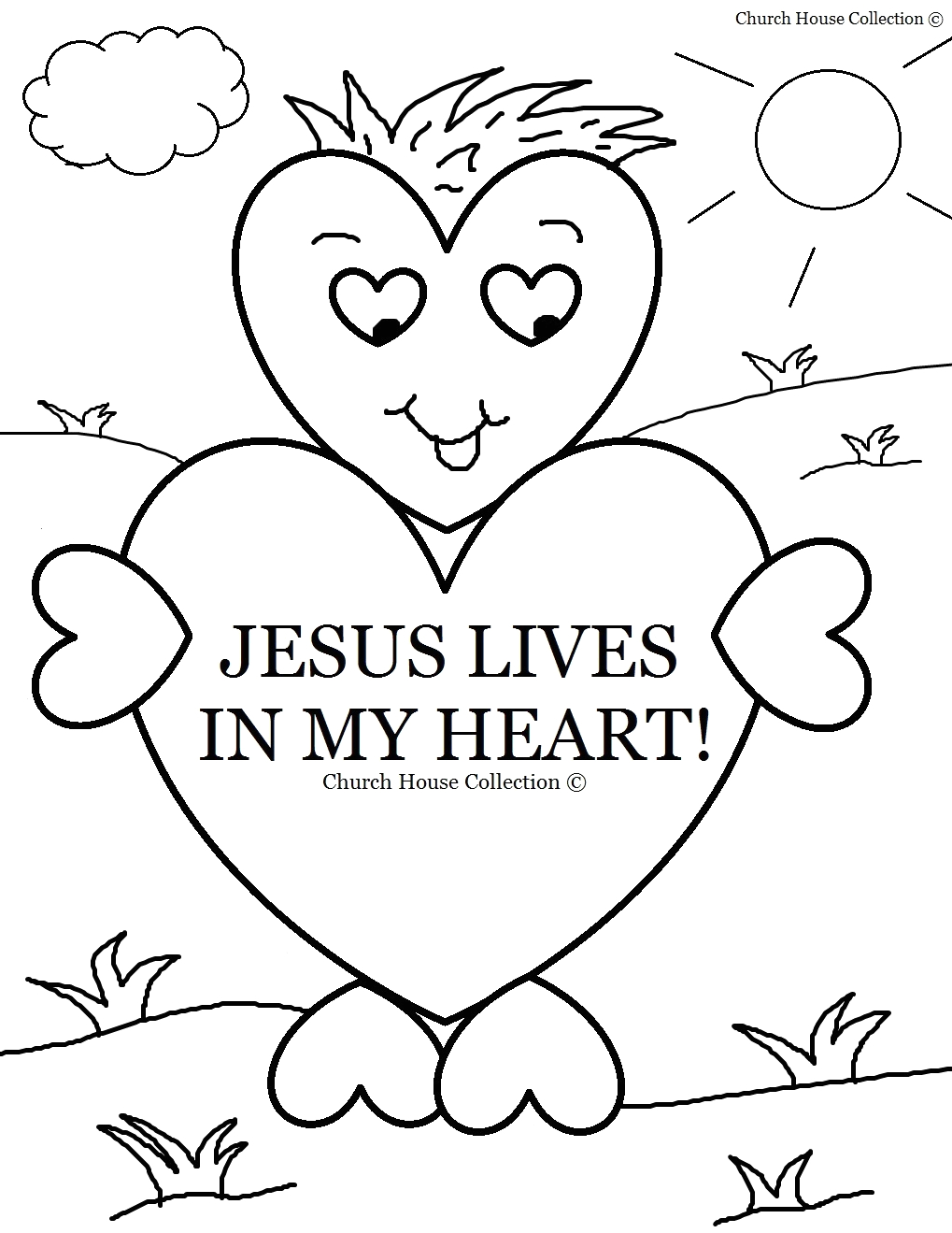 Free Valentine Coloring Pages for Sunday School Church House Collection Blog Jesus Lives In My Heart