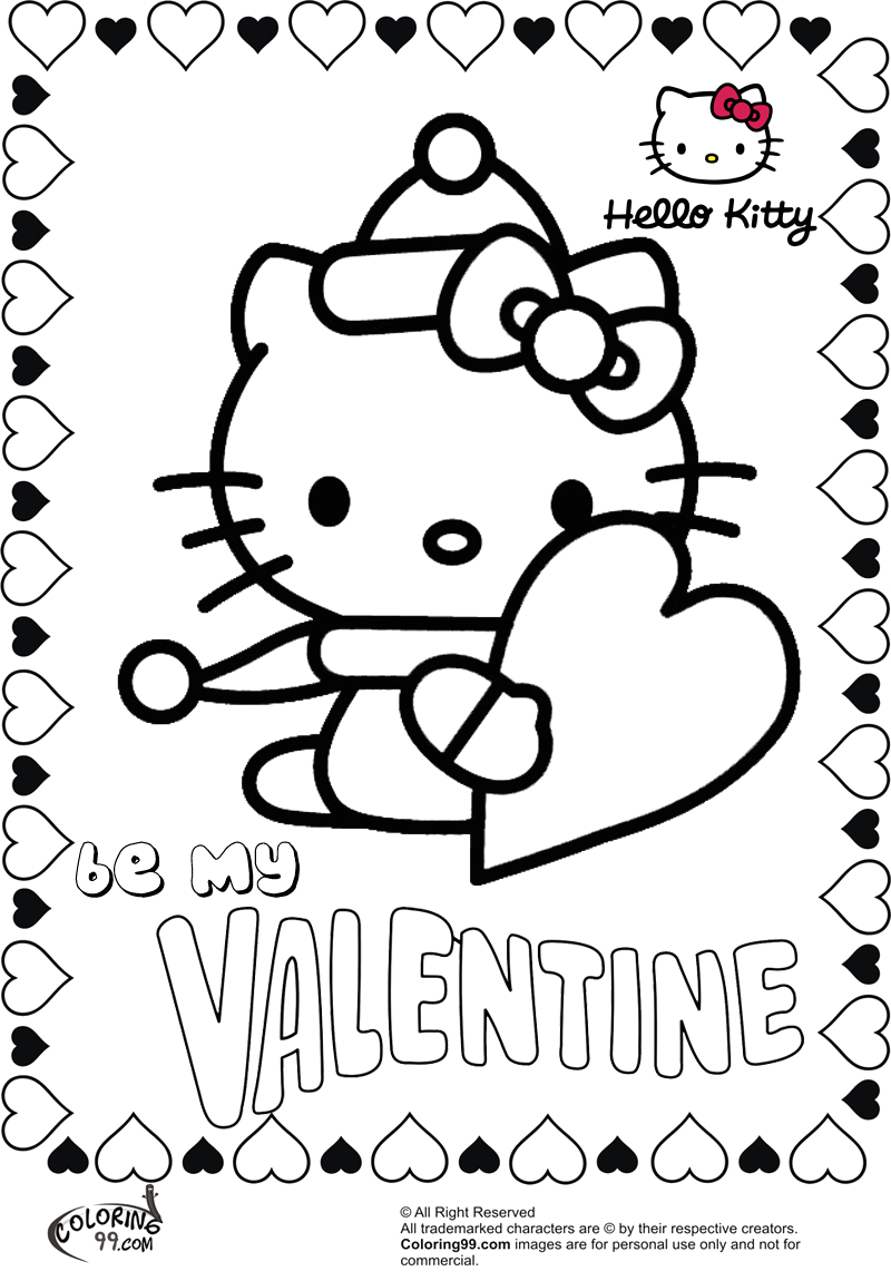 Hello Kitty Valentines Day Coloring Pages Printable Hello Kitty Valentine Coloring Pages