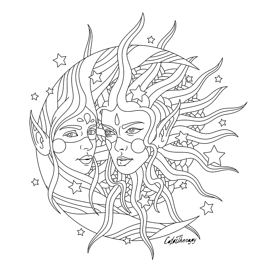 Hippie Sun and Moon Coloring Pages for Adults Hippies Clipart Moon Coloring Pages for Adults Sun