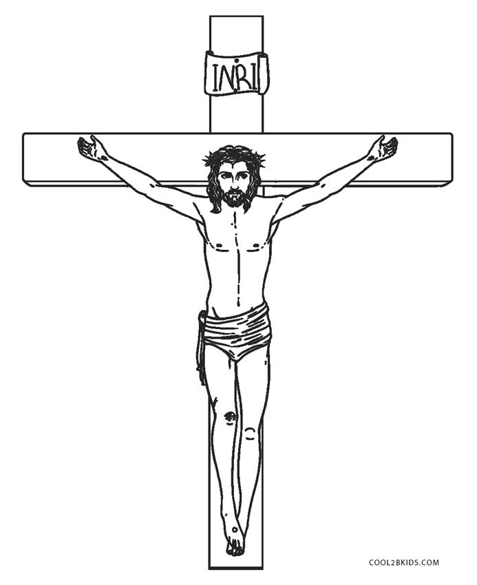 Jesus Christ On the Cross Coloring Pages Free Printable Cross Coloring Pages for Kids