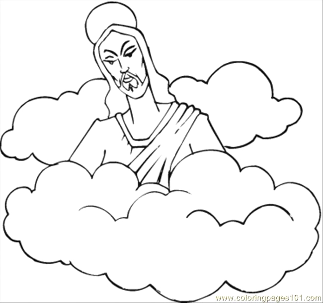 4449 jesus in the clouds coloring page