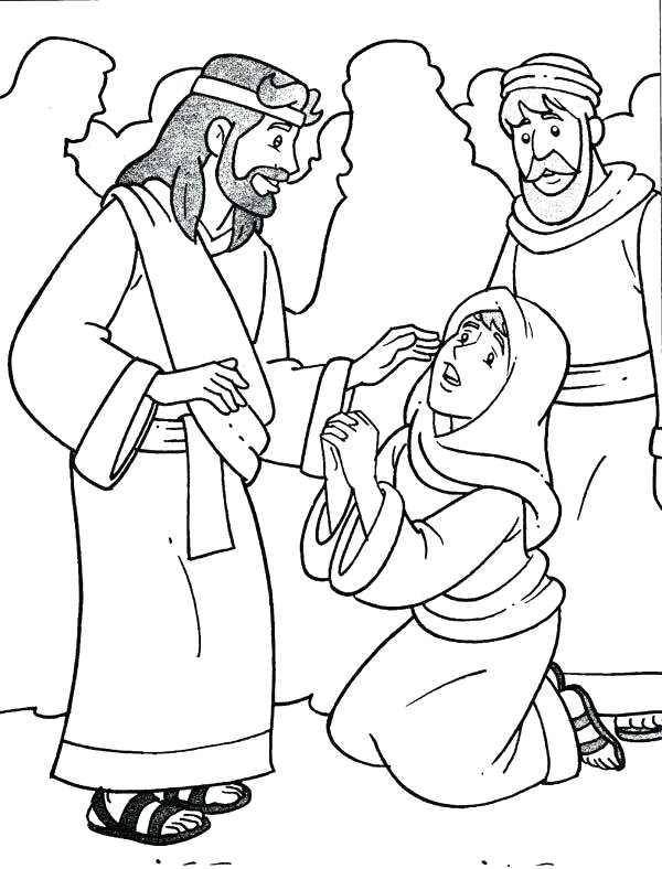 healing of a crippled woman black and wite clipart