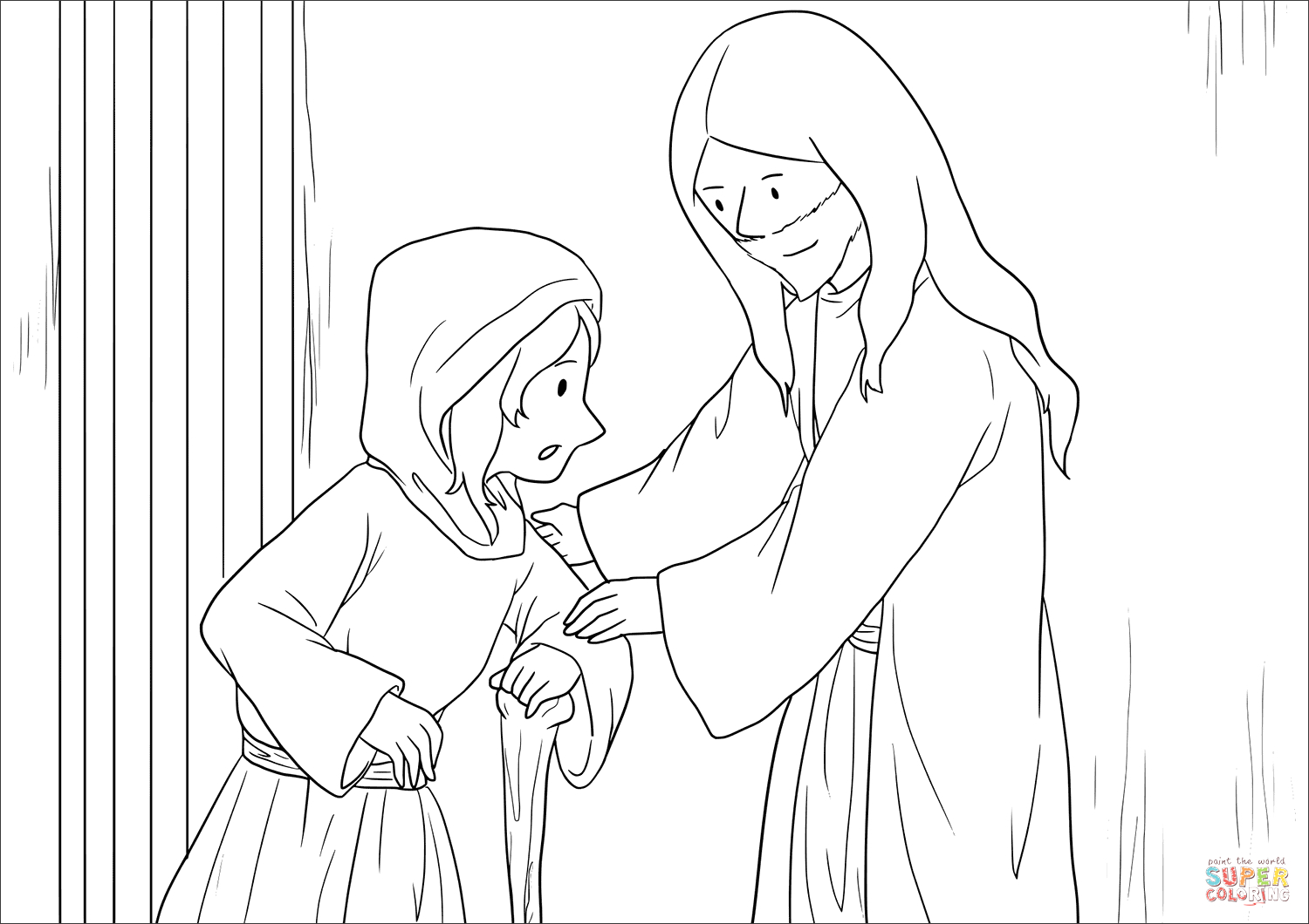 Jesus Heals the Crippled Woman Coloring Page Luxury Jesus Heals the Crippled Woman Coloring Page