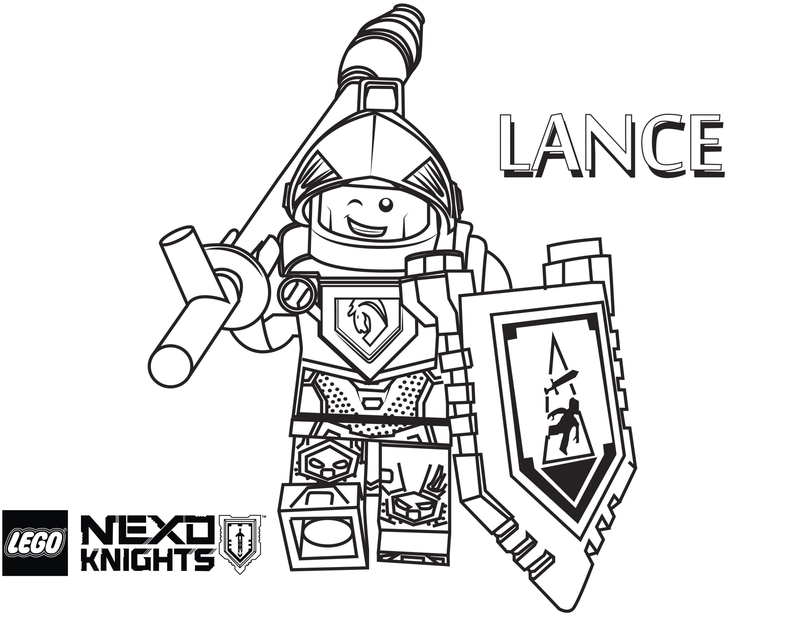 Lego Nexo Knights Coloring Pages to Print Lance Coloring Page Printable Sheet Lego Nexo Knights