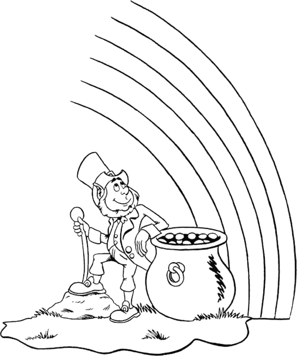 Leprechaun Rainbow Pot Of Gold Coloring Page Leprechaun Sitting with A Pot Gold In the End the