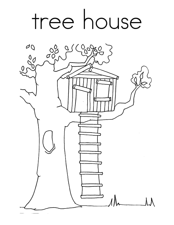treehouse coloring page for kids