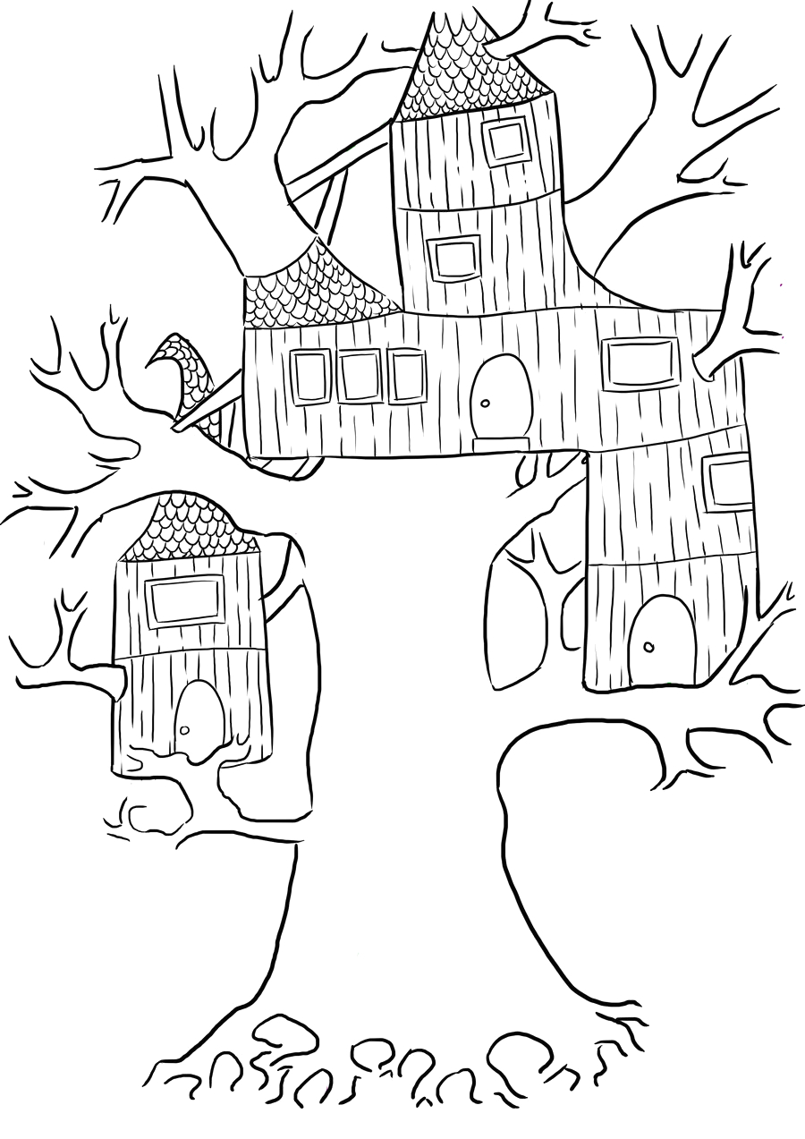treehouse coloring pages