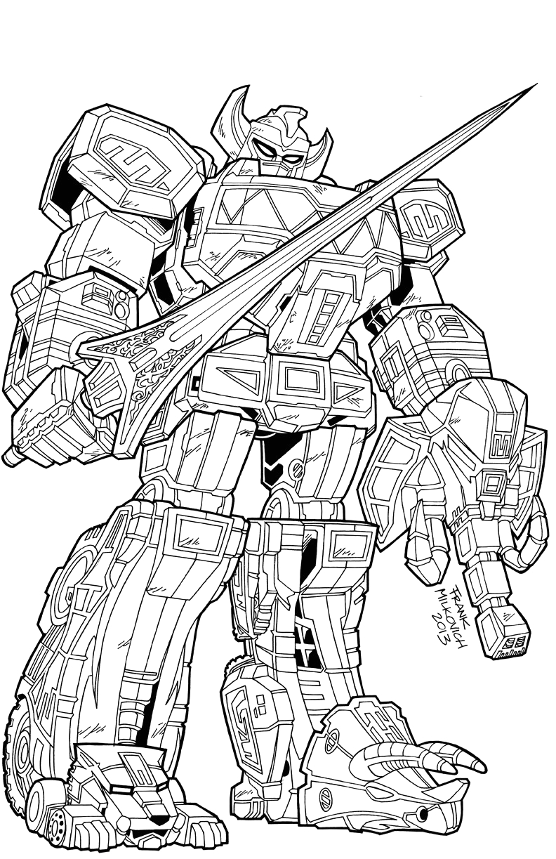 Mighty Morphin Power Rangers Megazord Coloring Pages Megazord Coloring Pages at Getcolorings