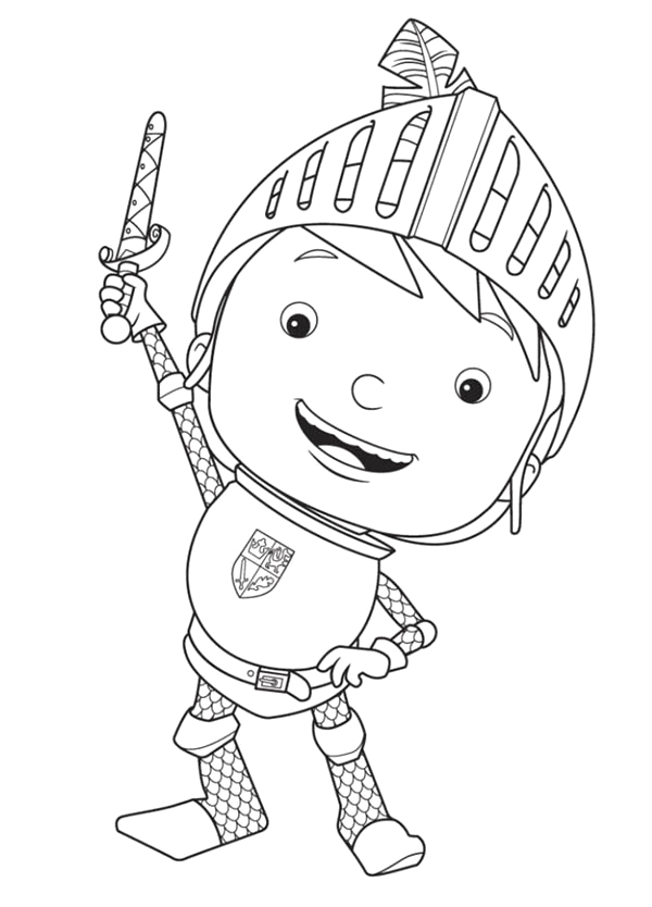 mike the knight rise his sword coloring page