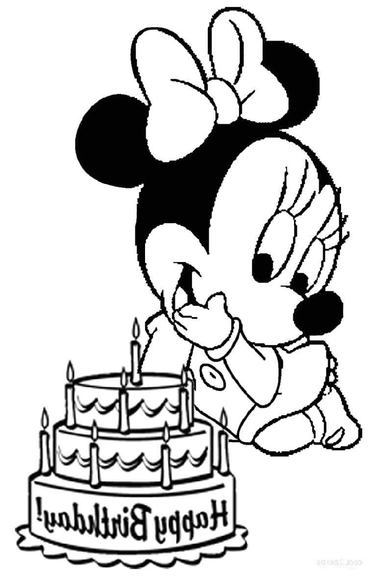 baby minnie mouse coloring pages cute style