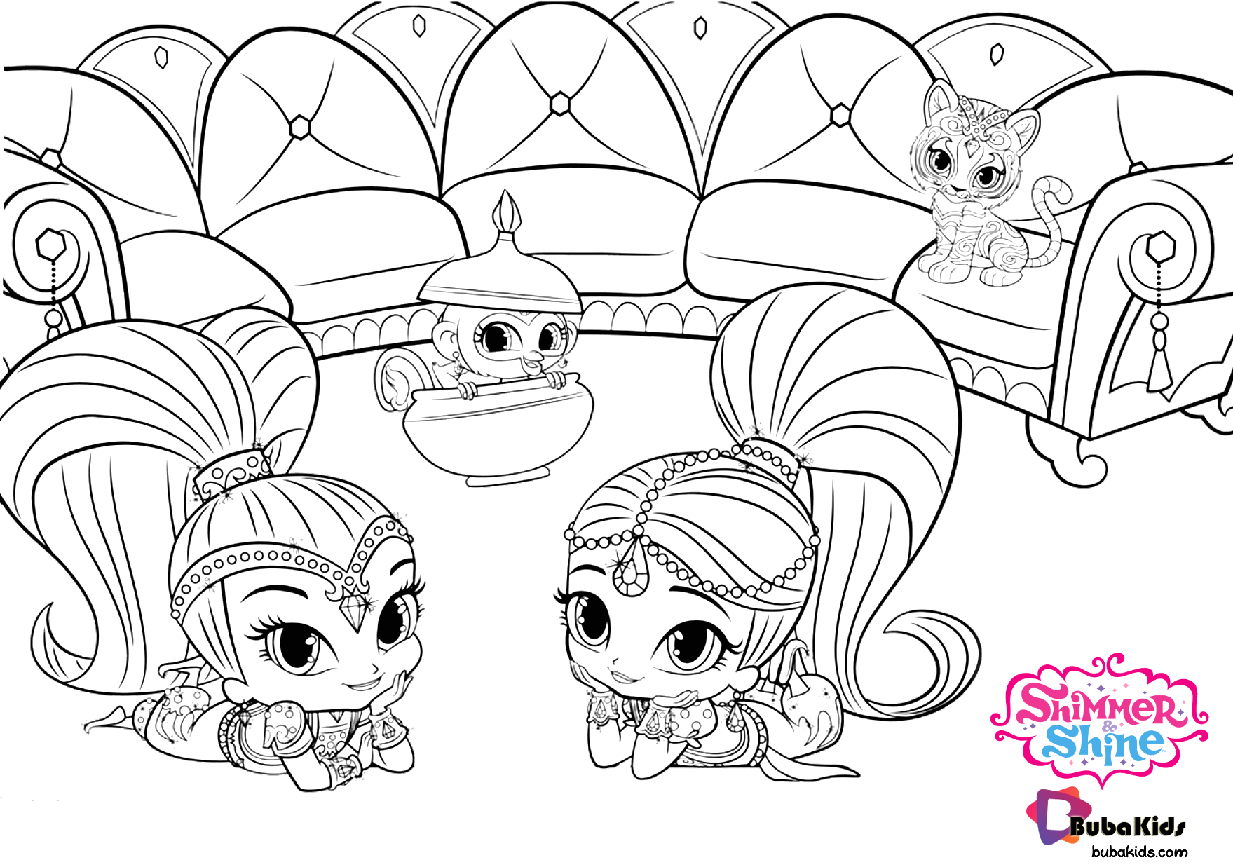 Nick Jr Coloring Pages Shimmer and Shine Nick Jr Shimmer and Shine Printable and Free Coloring Page