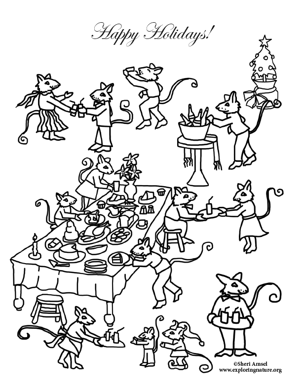 One is A Feast for A Mouse Coloring Page Mouse Holiday Party Feast Coloring Page