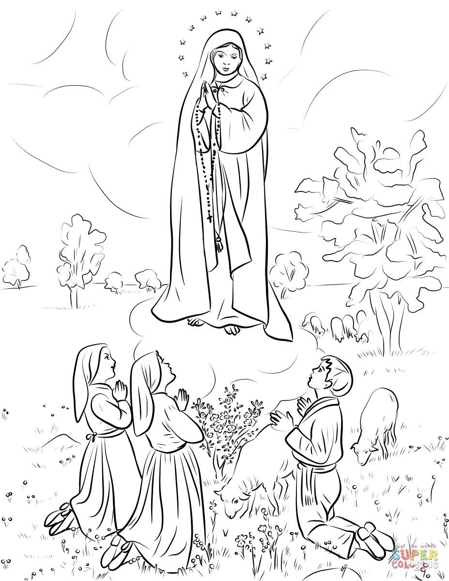 Our Lady Of Fatima Coloring Page Printable Our Lady Of Fatima Coloring Page
