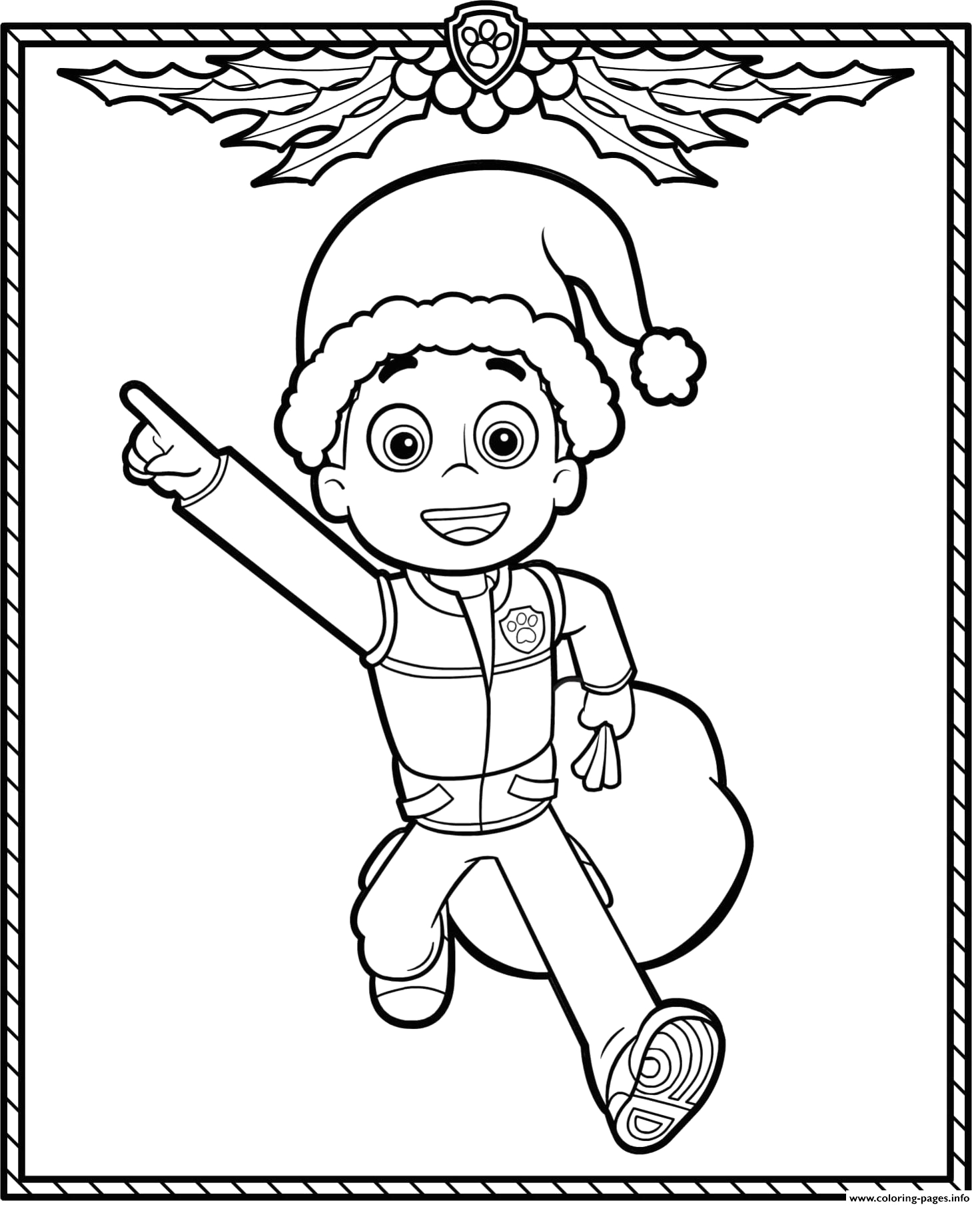 paw patrol holiday christmas ryder printable coloring pages book