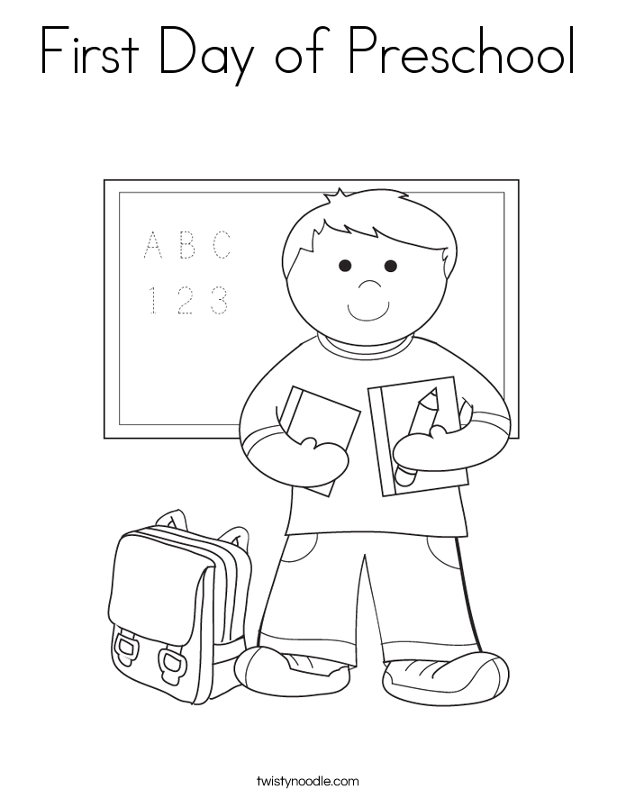 first day of preschool coloring page