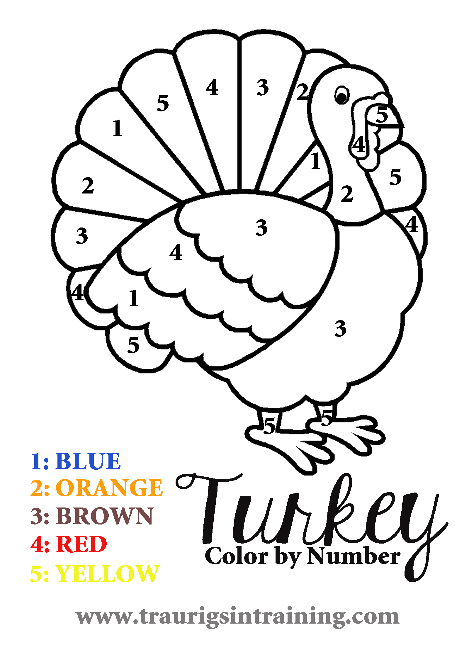 Printable Color by Number Thanksgiving Coloring Pages 6 Best Of Free Printable Color by Number Turkey