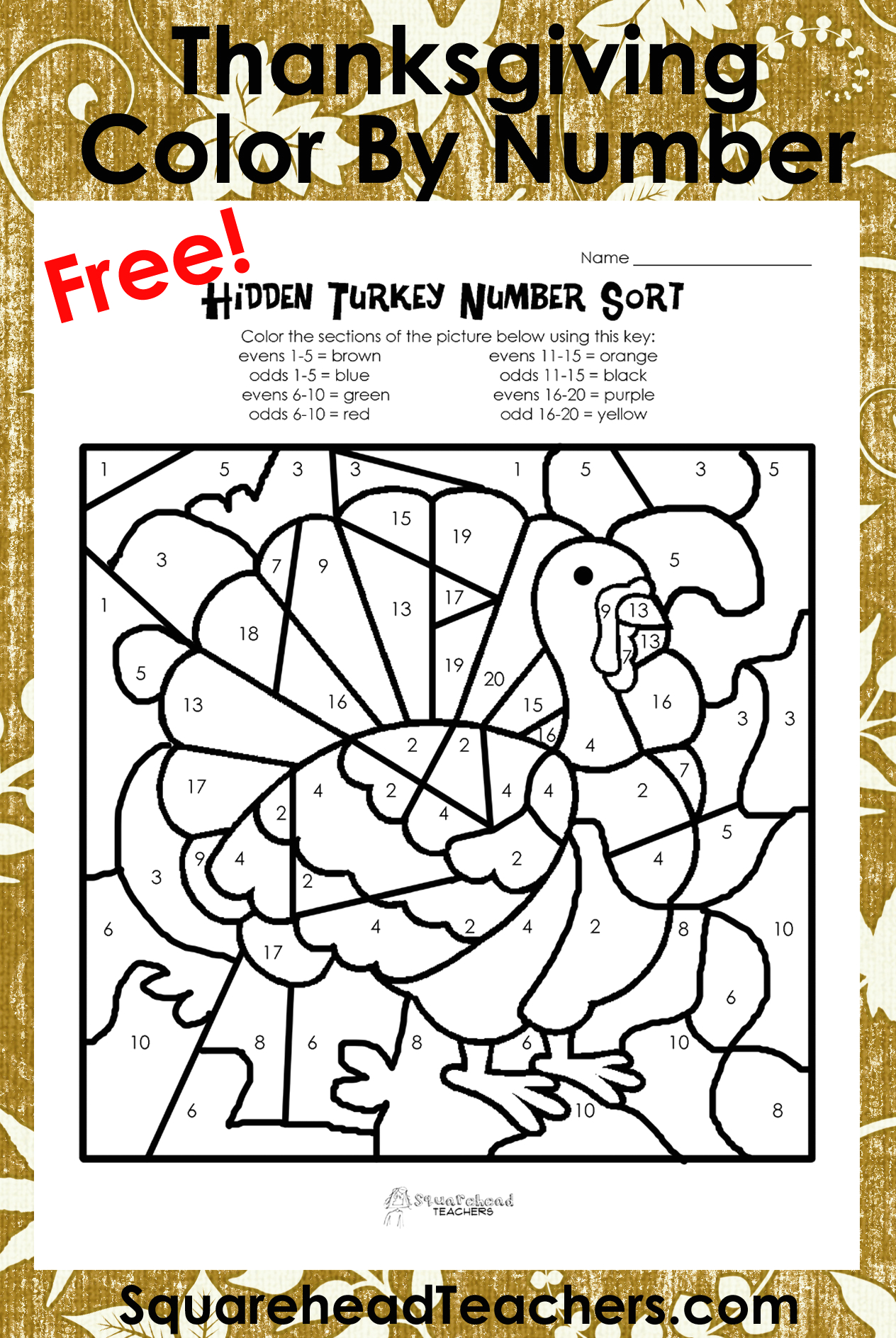 post thanksgiving color by number printables
