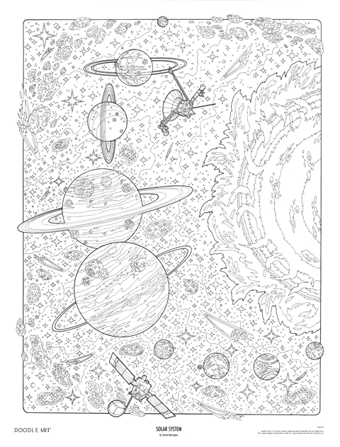 Solar System Space Coloring Pages for Adults solar System Doodle Art Colouring Poster This Was