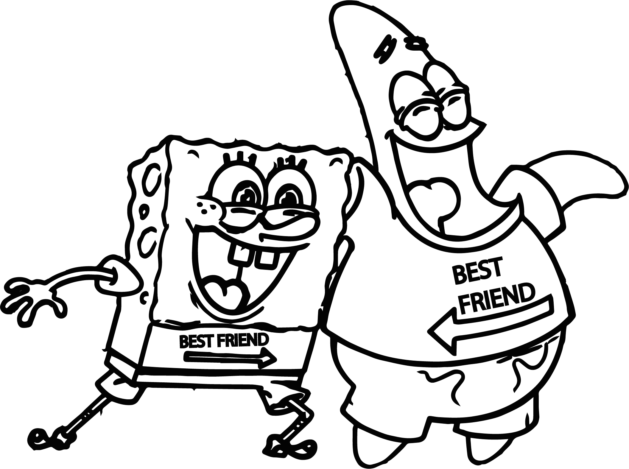 Spongebob and Patrick Best Friends Coloring Pages Sponge Sunger Bob Patrick Best Friends Coloring Page