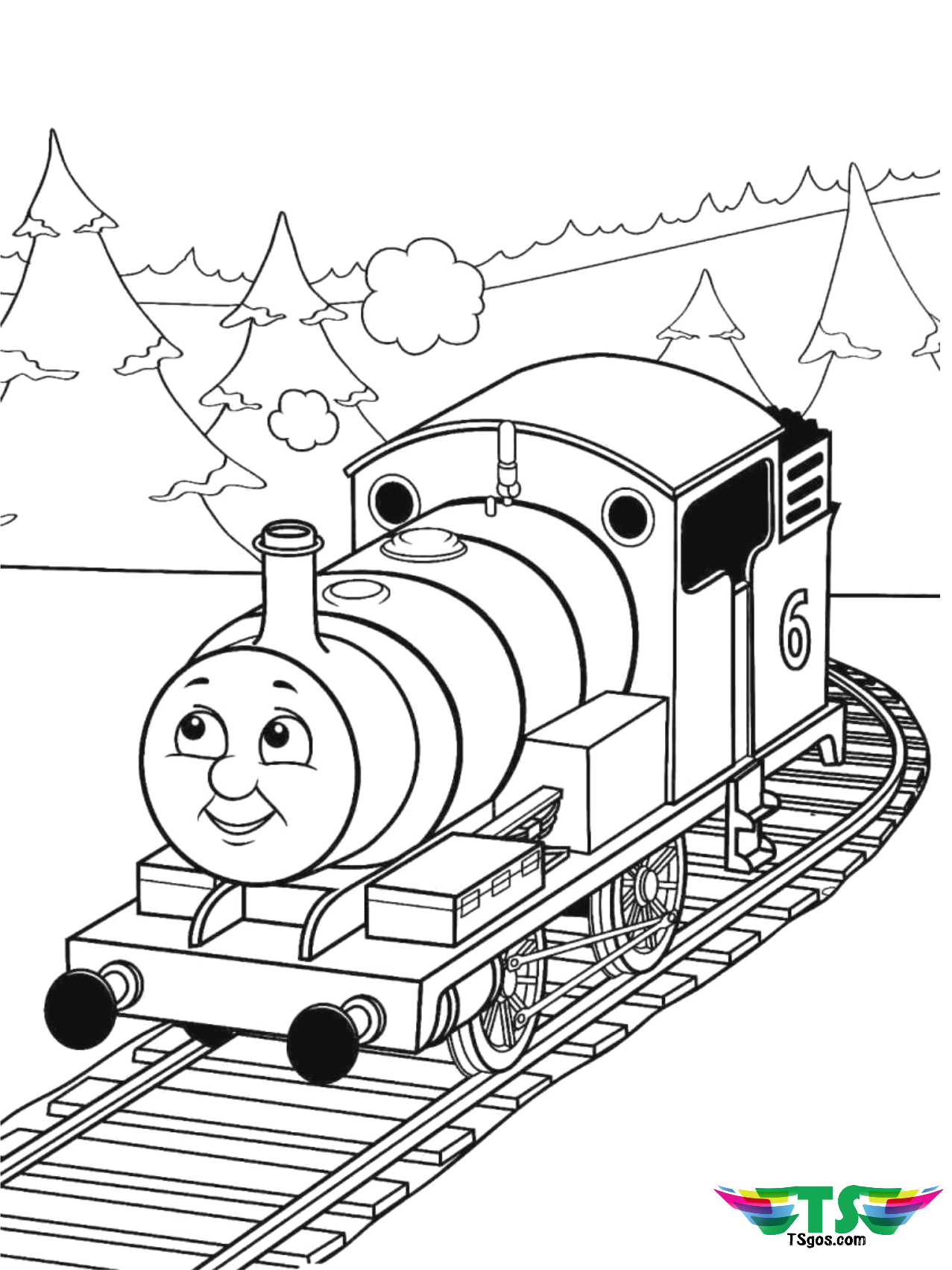 thomas the tank engine train coloring page