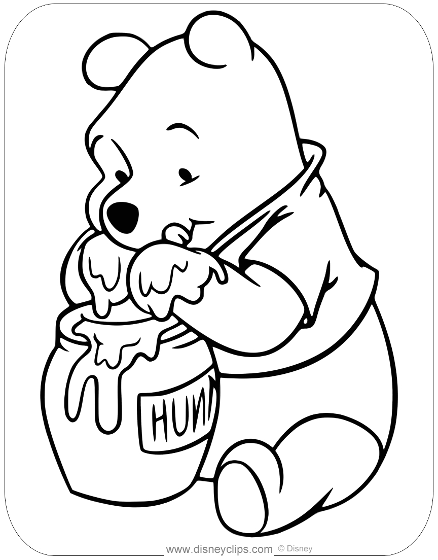 Winnie the Pooh Eating Honey Coloring Pages Winnie the Pooh Eating Honey Clipart Clipart