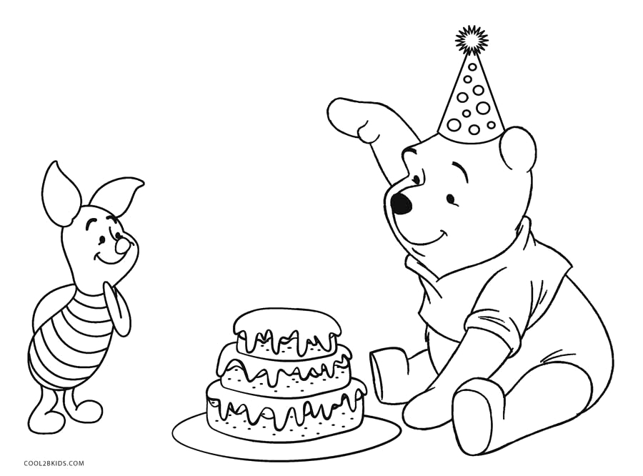 Winnie the Pooh Happy Birthday Coloring Pages Free Printable Winnie the Pooh Coloring Pages for Kids