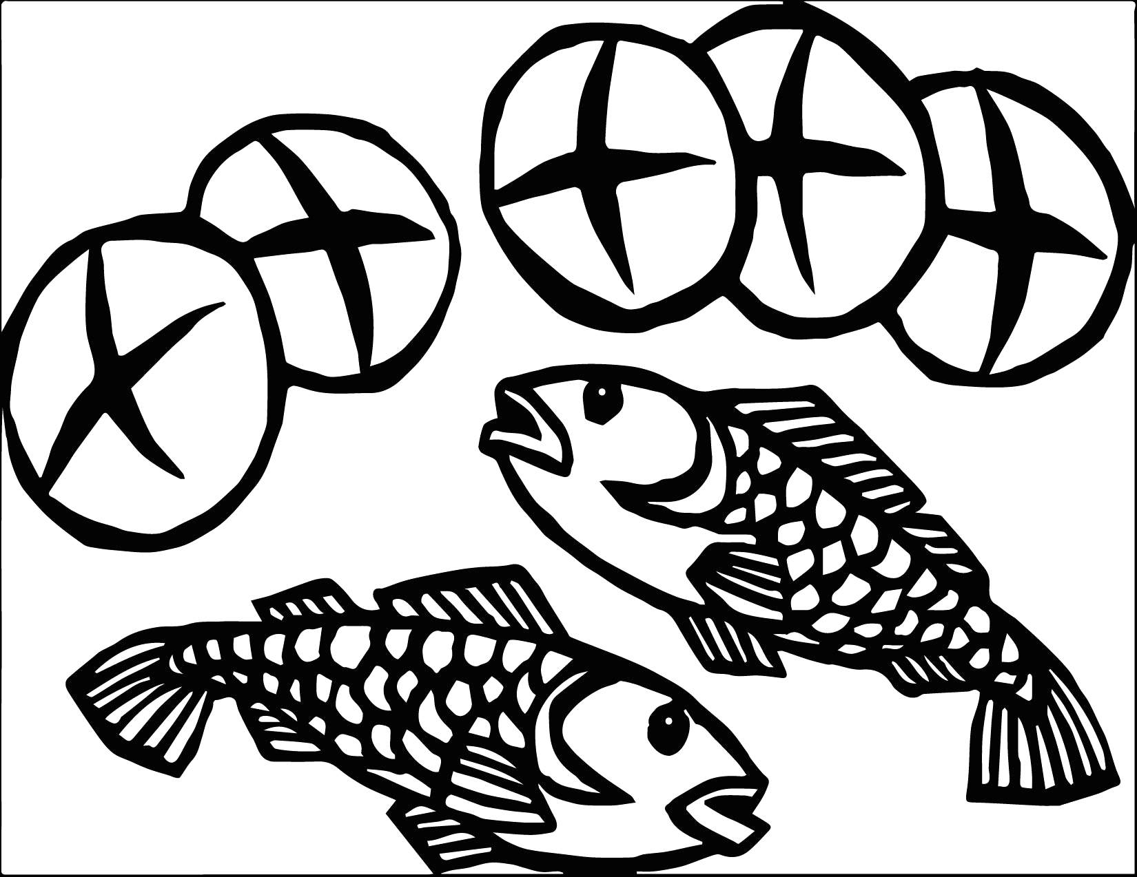5 loaves and 2 fish coloring page