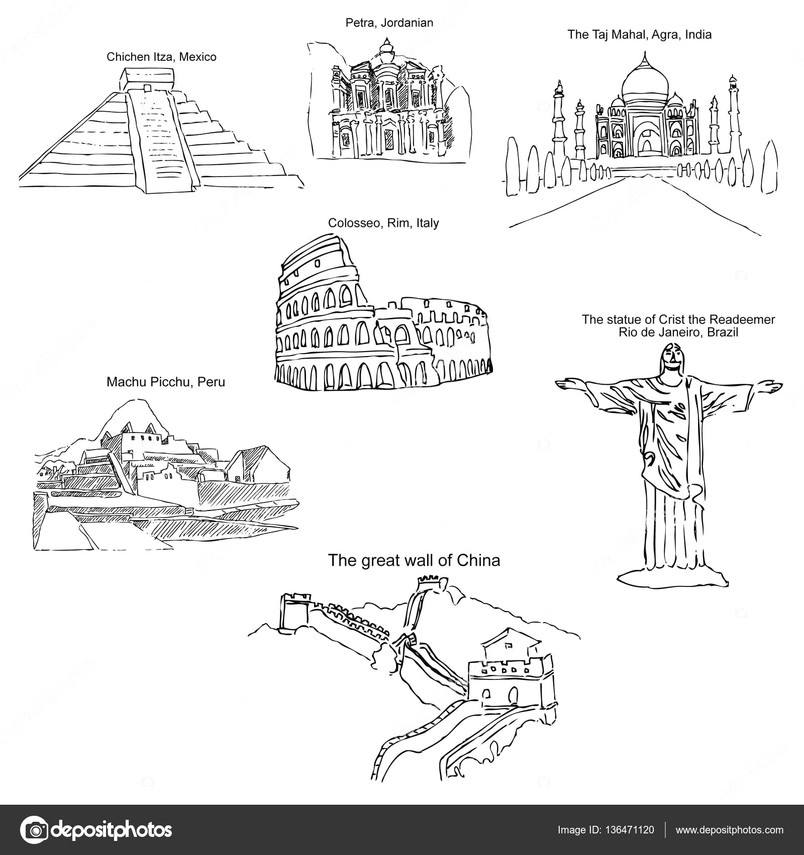 7 Wonders Of the World Coloring Pages World 7 Wonders Coloring Pages Sketch Coloring Page