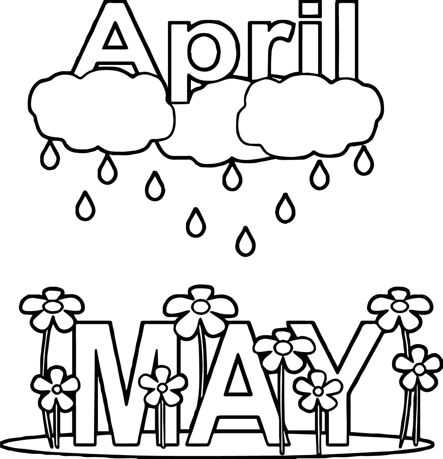April Showers Bring May Flowers Coloring Page Nice April Shower May Rain Flower Coloring Page