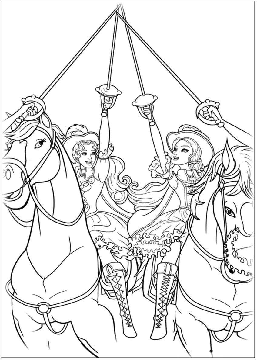 Barbie and the 3 Musketeers Coloring Pages Barbie Three Musketeers Coloring Page
