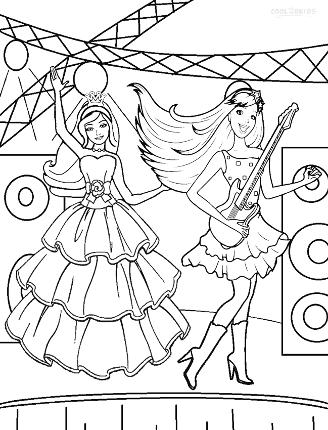 Barbie Princess and the Popstar Coloring Pages Printable Barbie Princess Coloring Pages