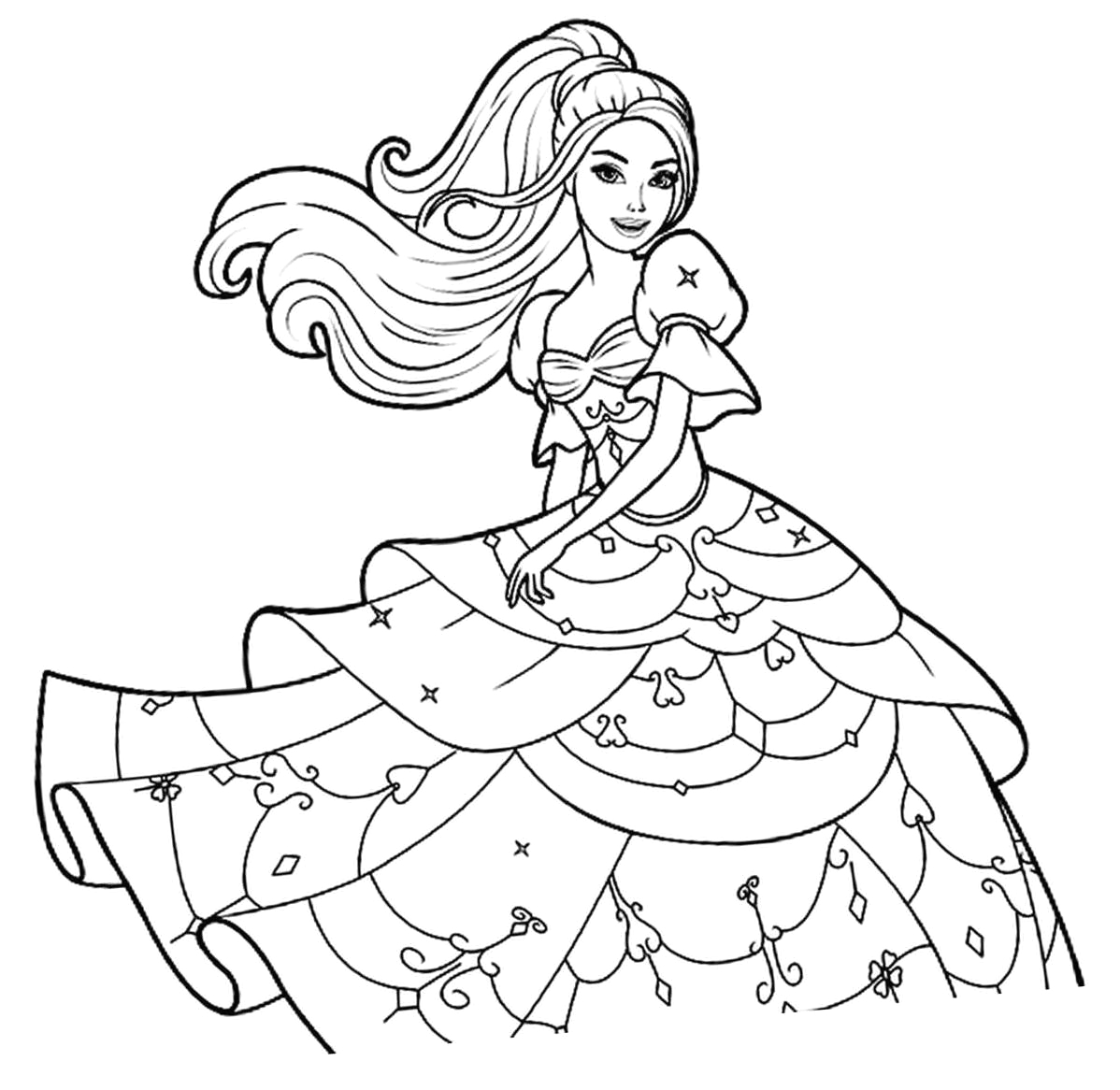 Barbie Princess Coloring Pages to Print Free Beautiful Barbie Princess Coloring Page Free Printable