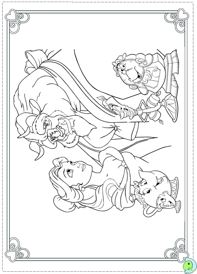 beauty and the beast christmas coloring pages