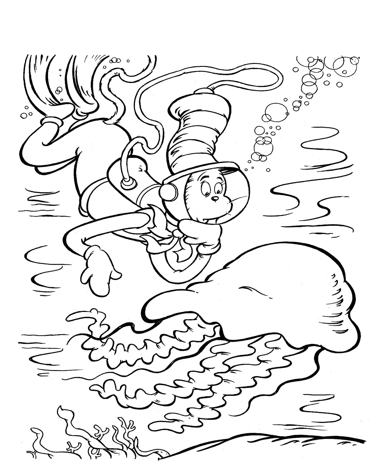 Cat In the Hat Coloring Pages for Preschool Free Printable Cat In the Hat Coloring Pages for Kids