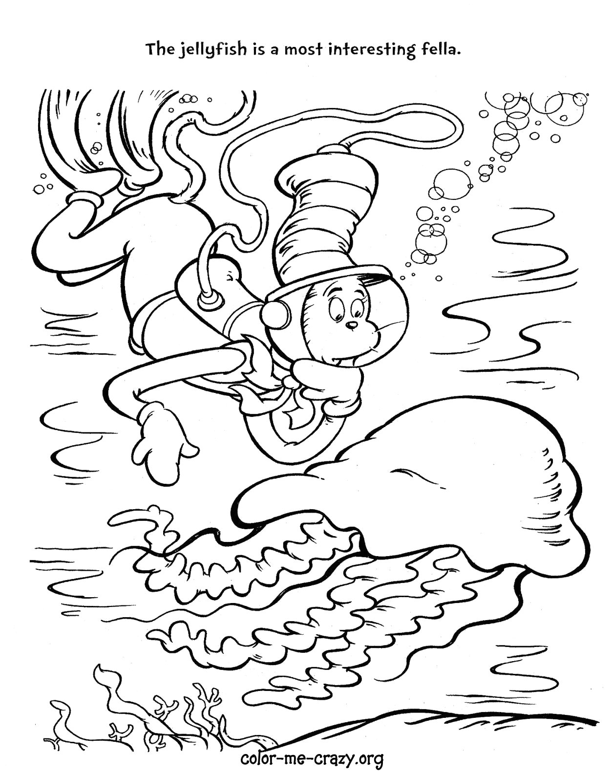 free coloring pages fish cat in the hat