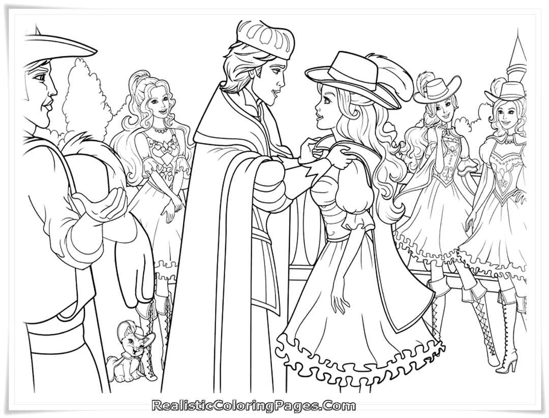 barbie and three musketeers coloring