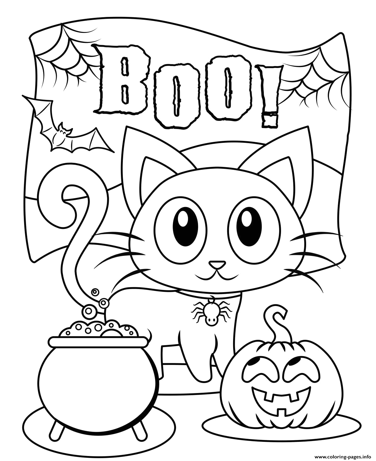 halloween boo cat cute kids printable coloring pages book