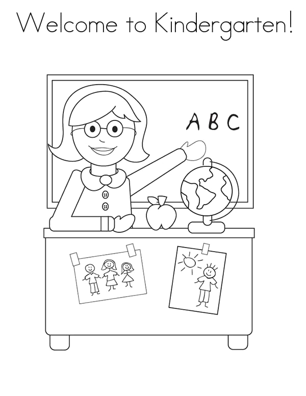 wel e to kindergarten on first day of school coloring page